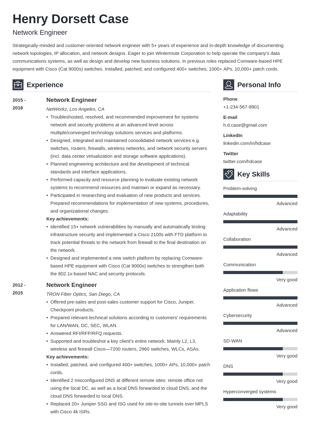 network engineer resume example template vibes