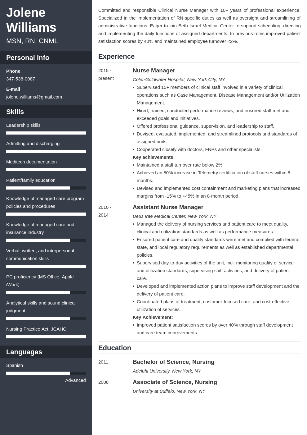 nurse manager resume example template cascade