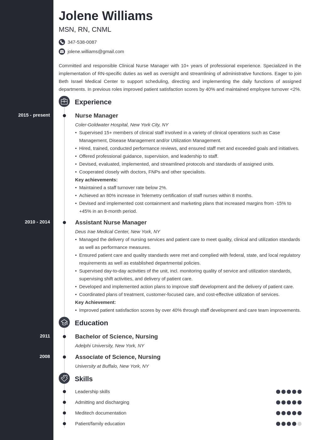 nurse manager resume example template concept