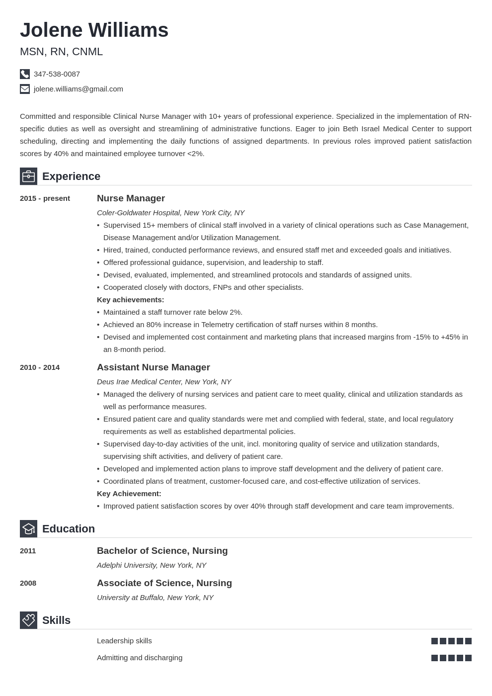 nurse manager resume example template iconic