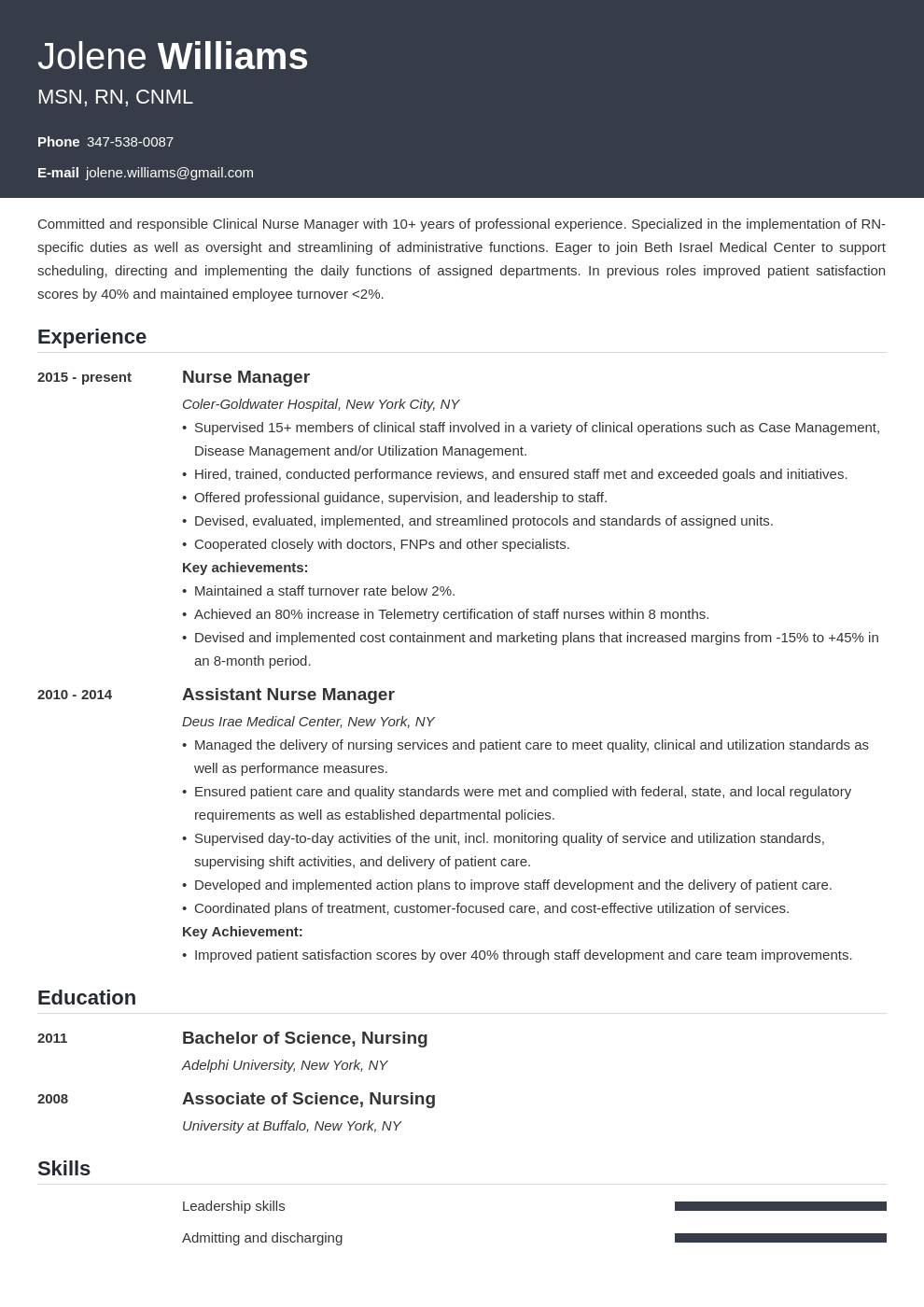 nurse manager resume example template influx