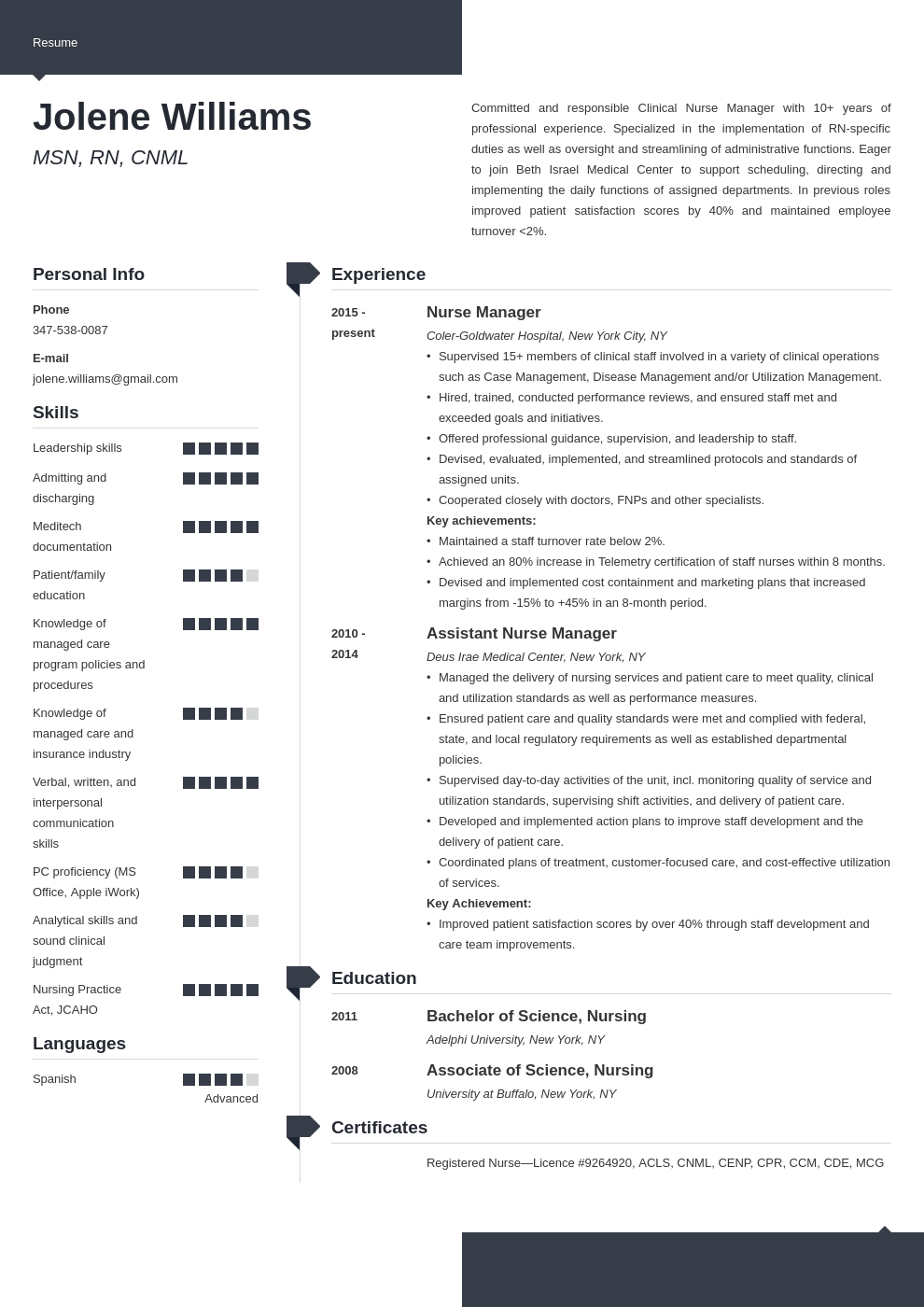 nurse manager resume example template modern
