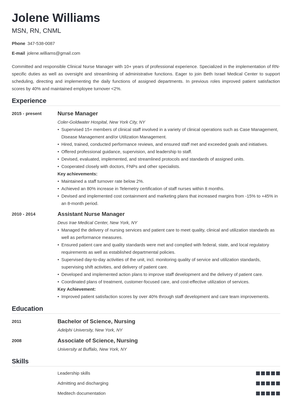 nurse manager resume example template nanica