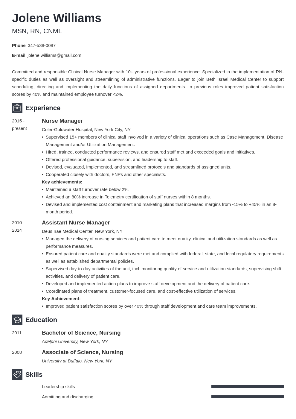 nurse manager resume example template newcast