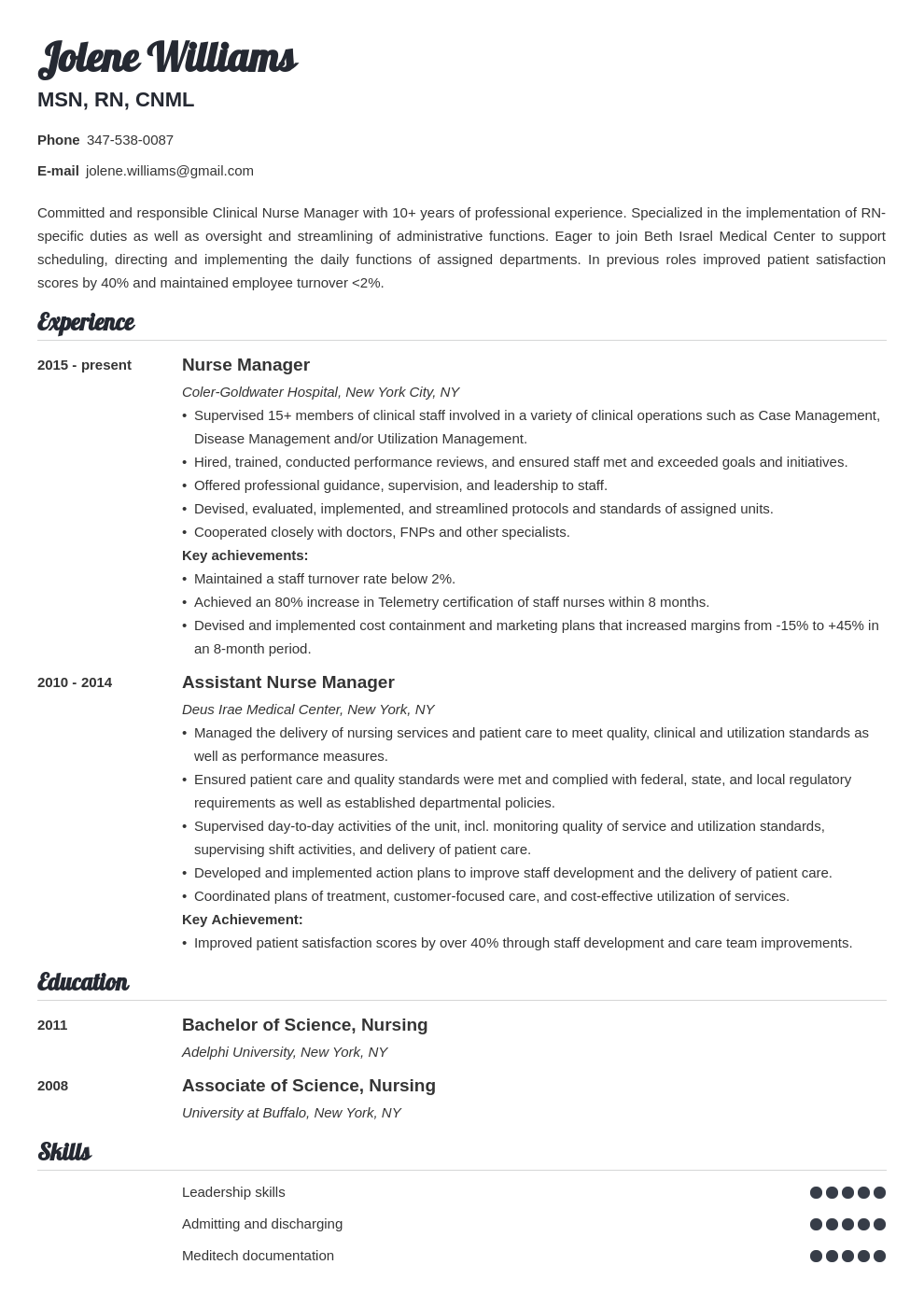 nurse manager resume example template valera