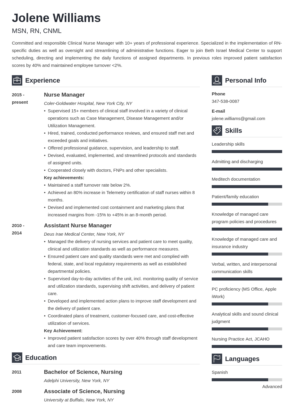 nurse manager resume example template vibes