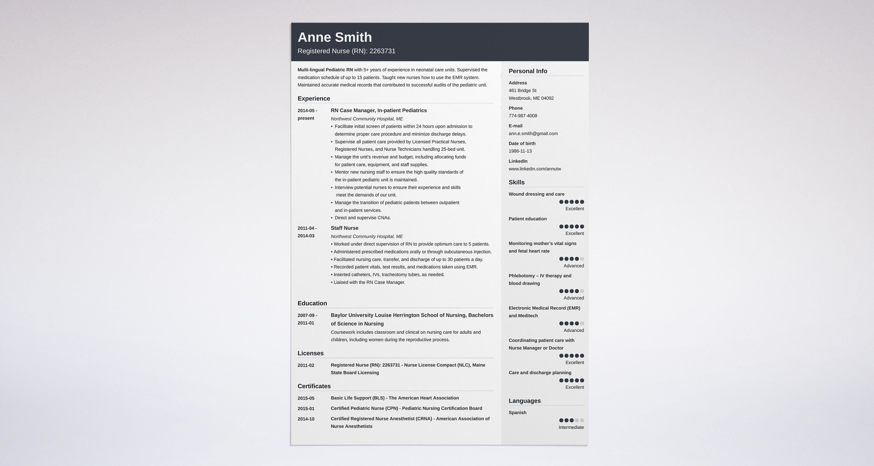 nursing resume template guide examples of experience skills