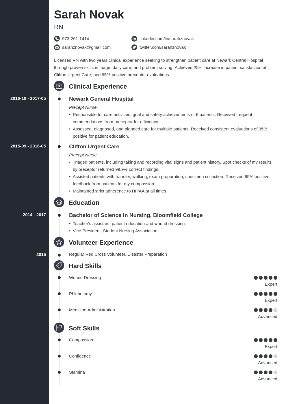 nursing student resume example template concept