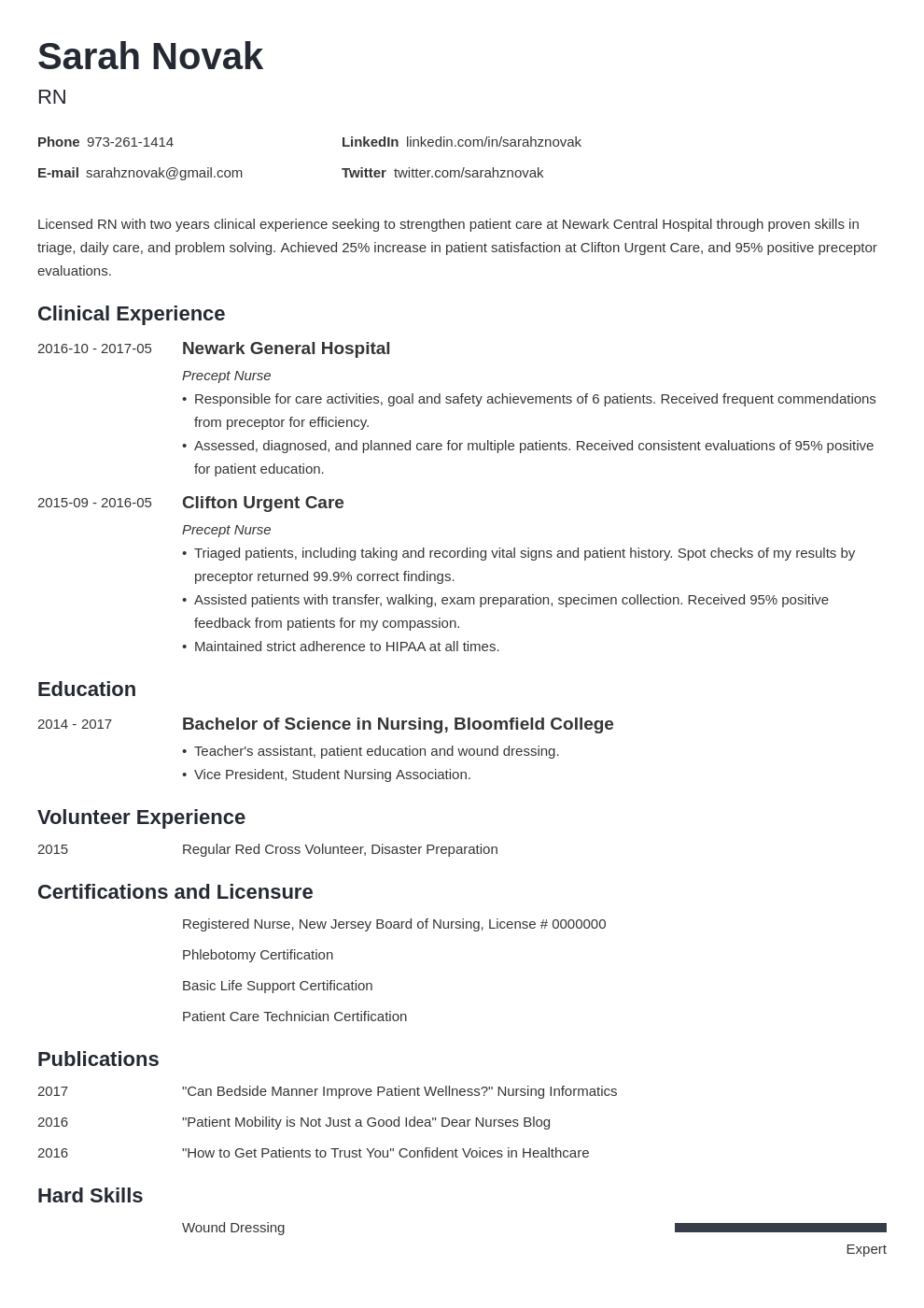 Nursing Student Resume 20 Examples For New Grad Nurses