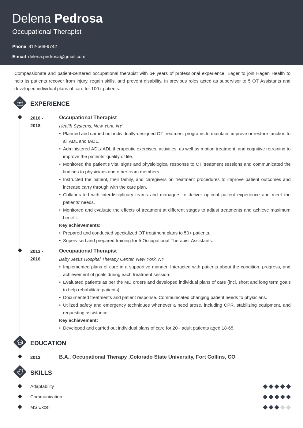 occupational therapy resume example template diamond