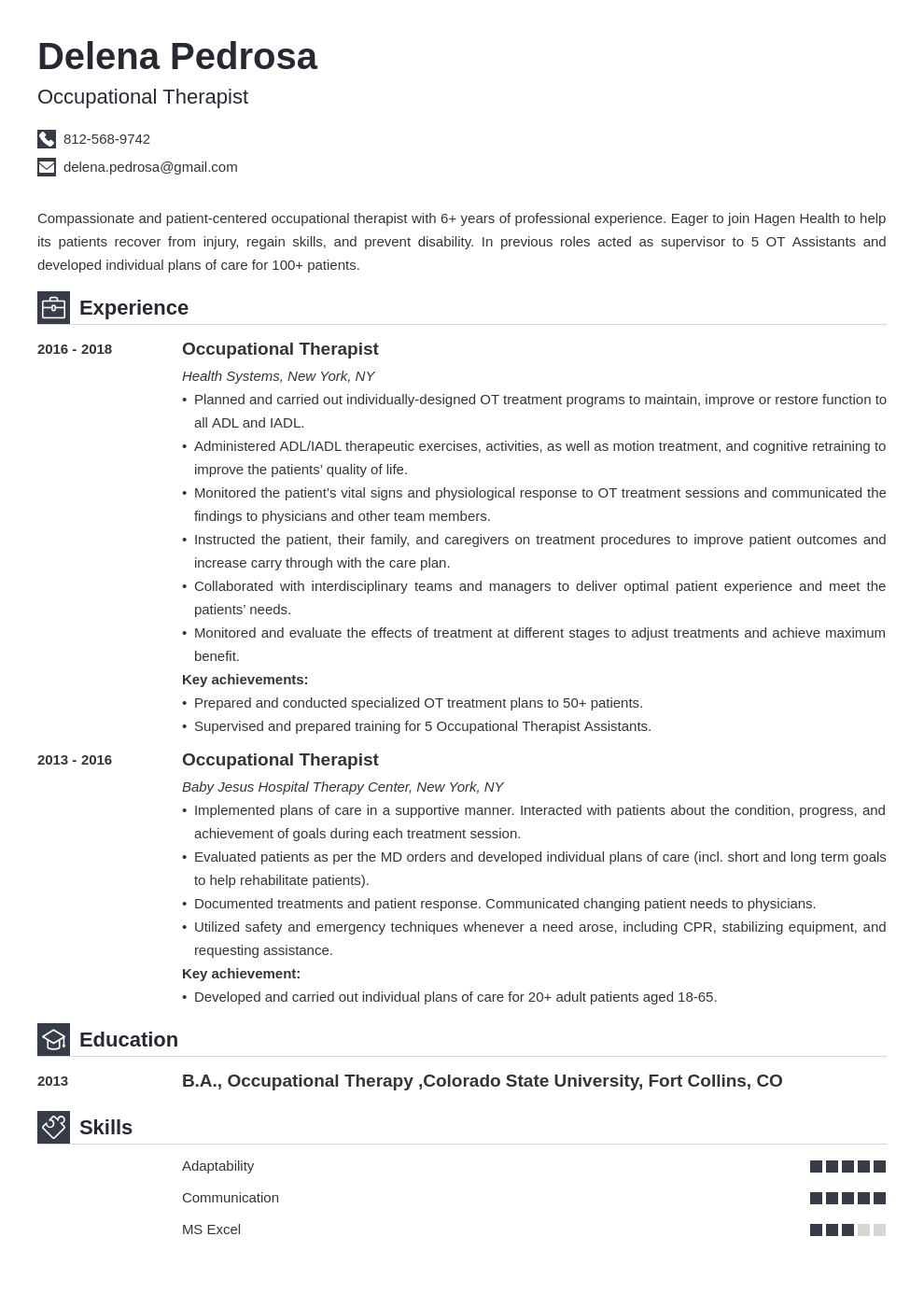 occupational therapy resume example template iconic