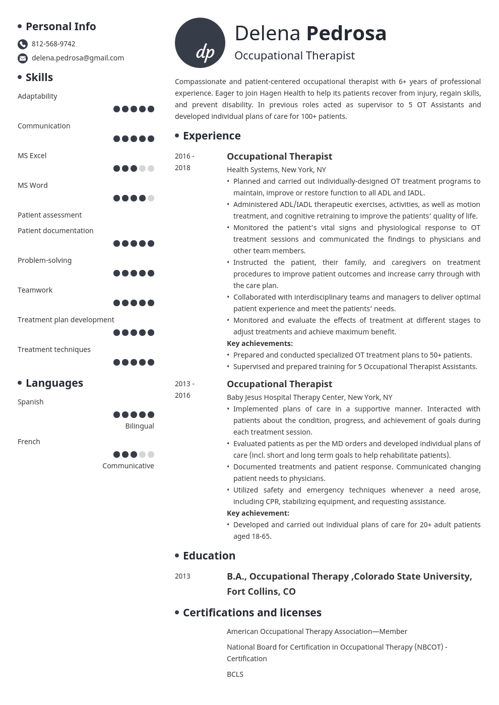 occupational therapy resume example template initials