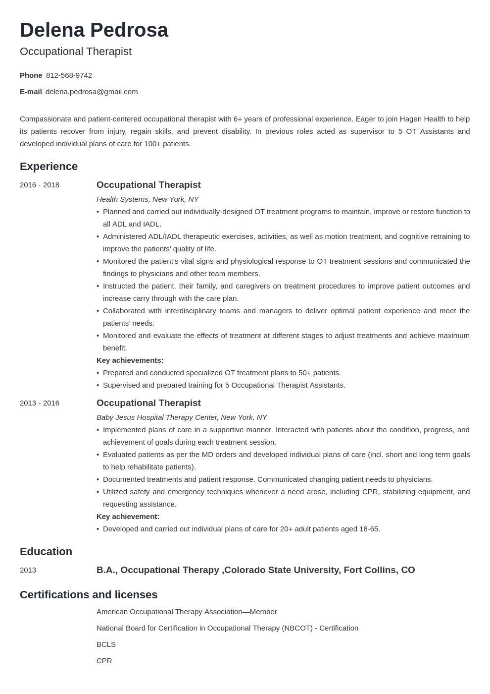 occupational therapy resume example template minimo
