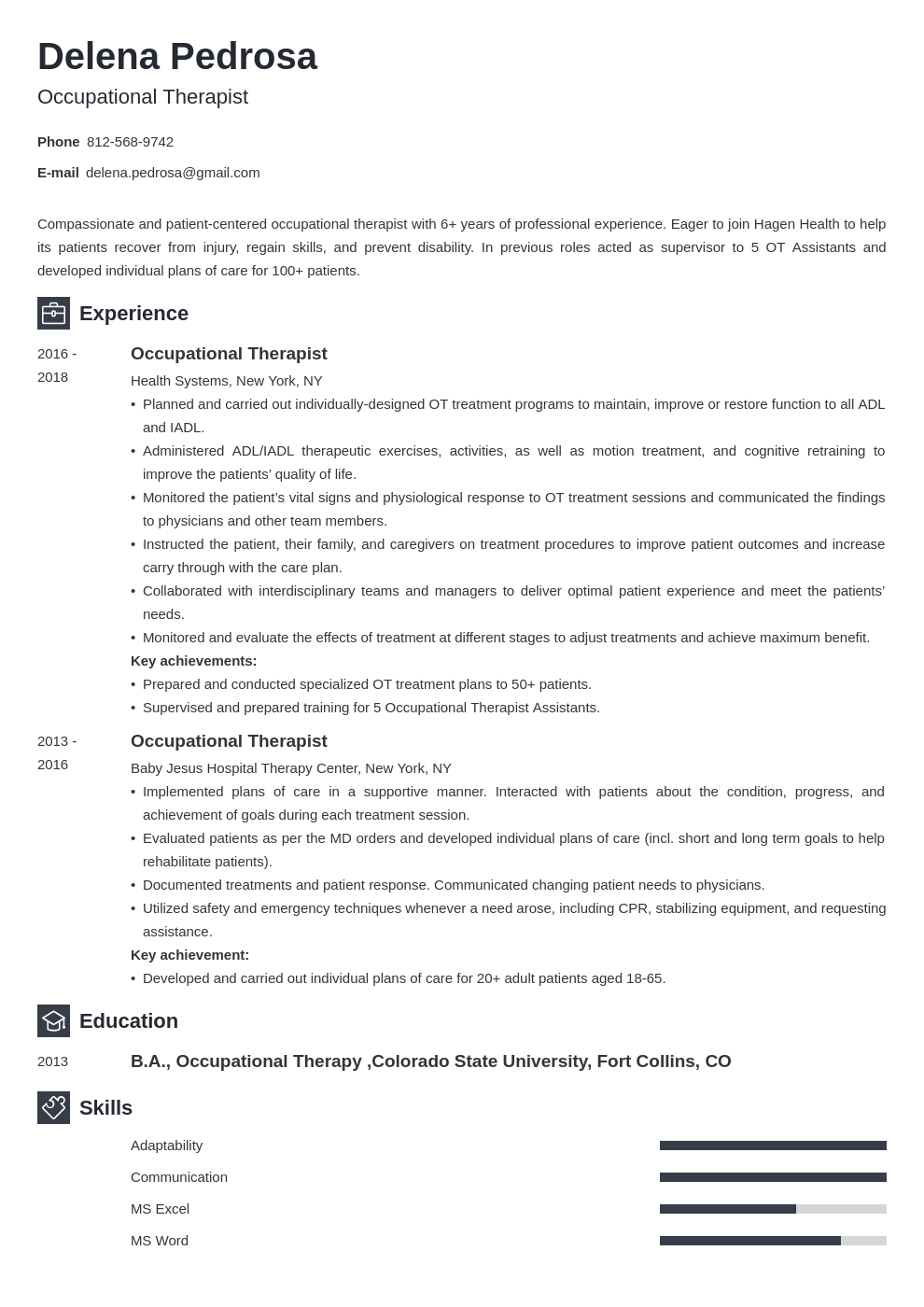 occupational therapy resume example template newcast