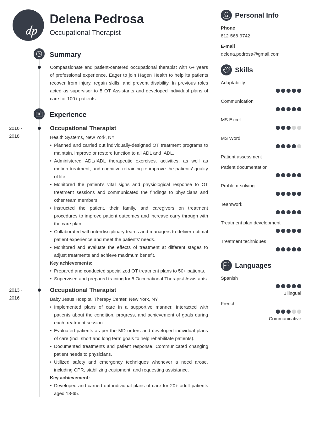 occupational therapy resume example template primo