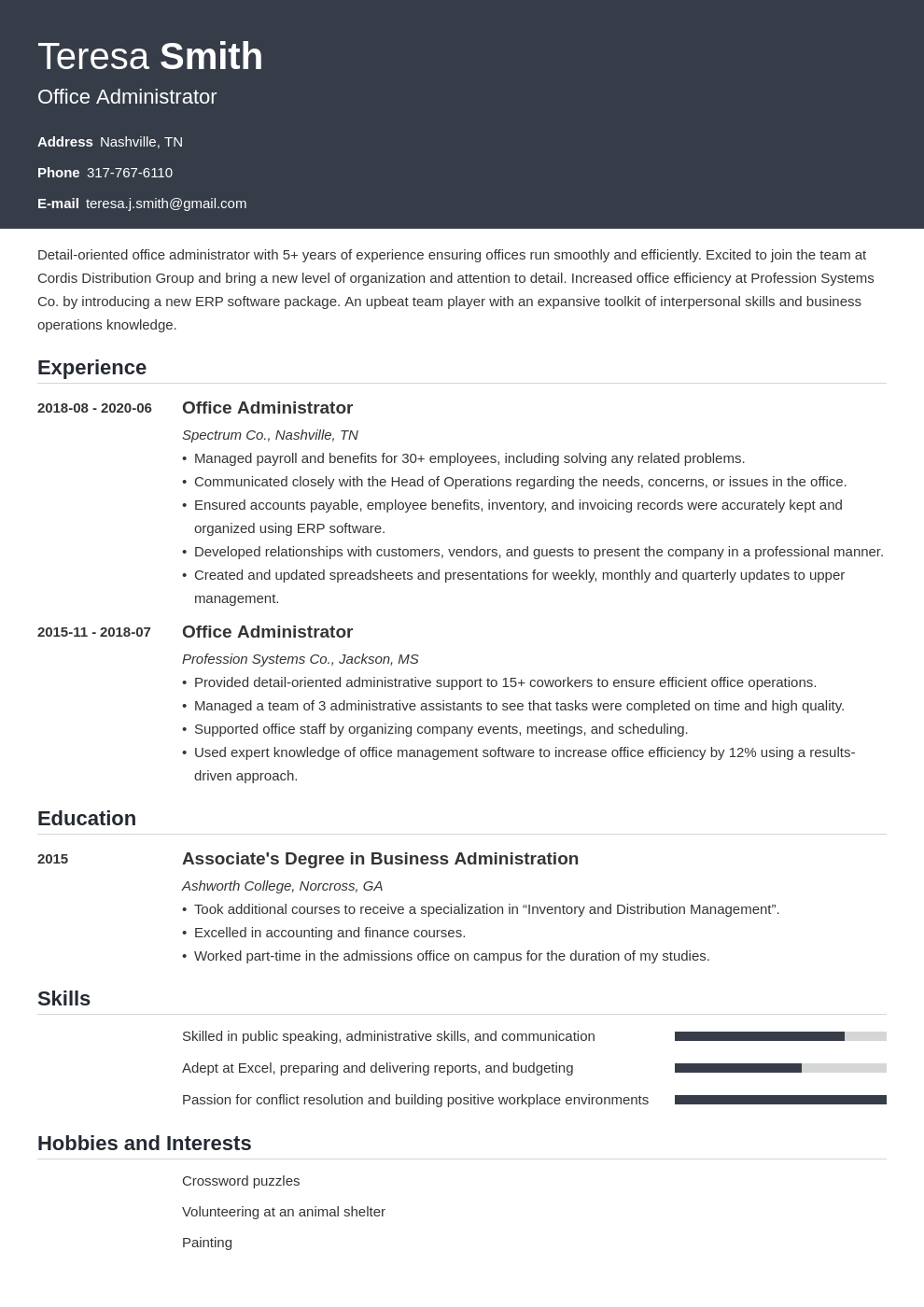 Free administration resume examples esl biography proofreading for hire for phd