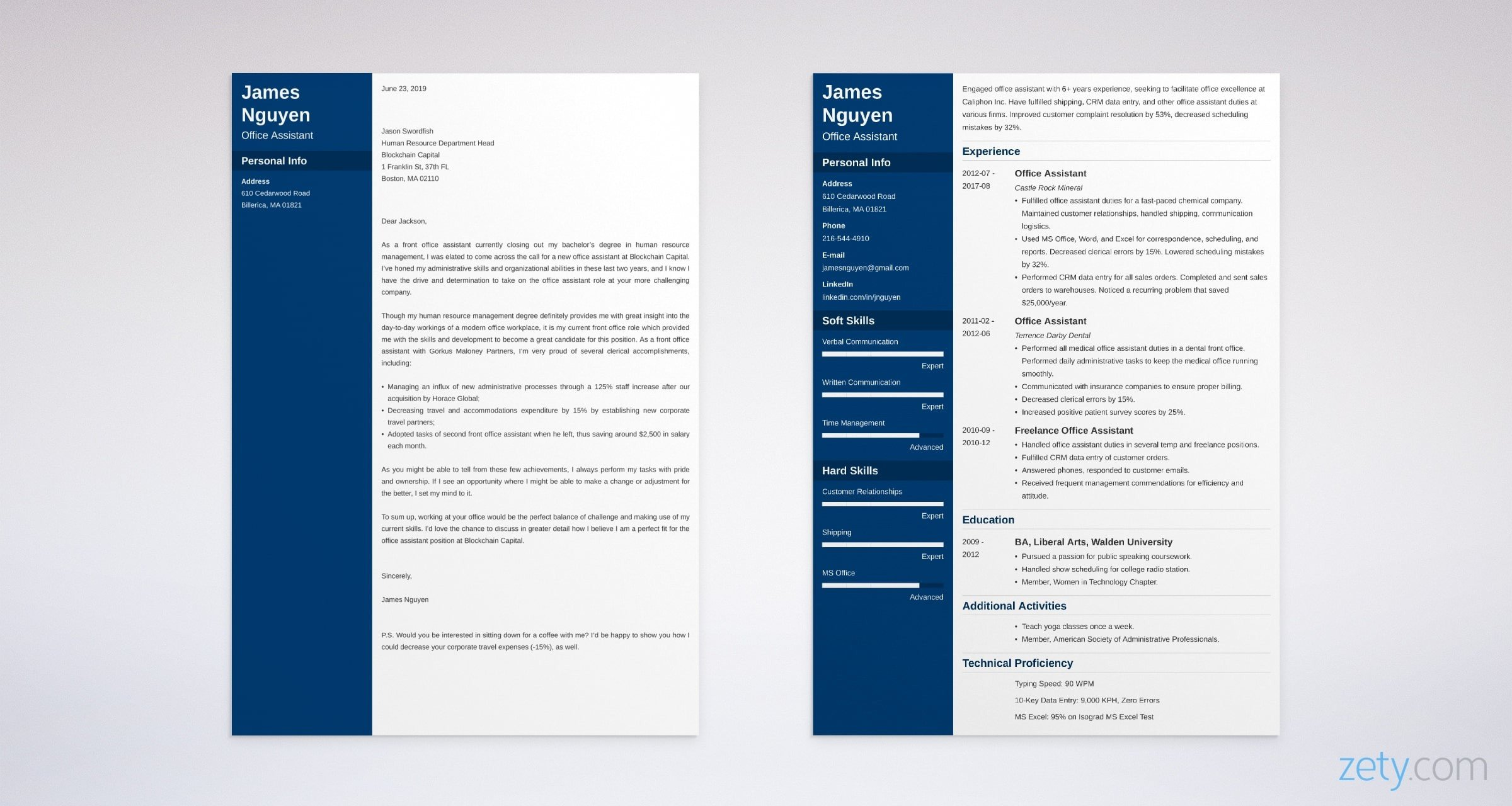 office assistant resume and cover letter set