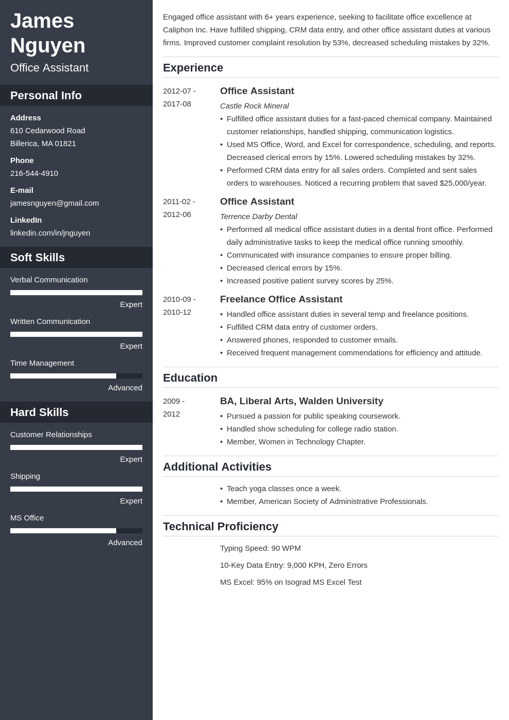 office assistant resume example template cascade