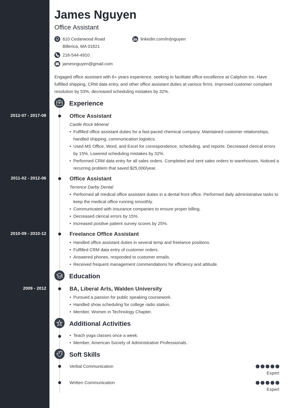 office assistant resume example template concept