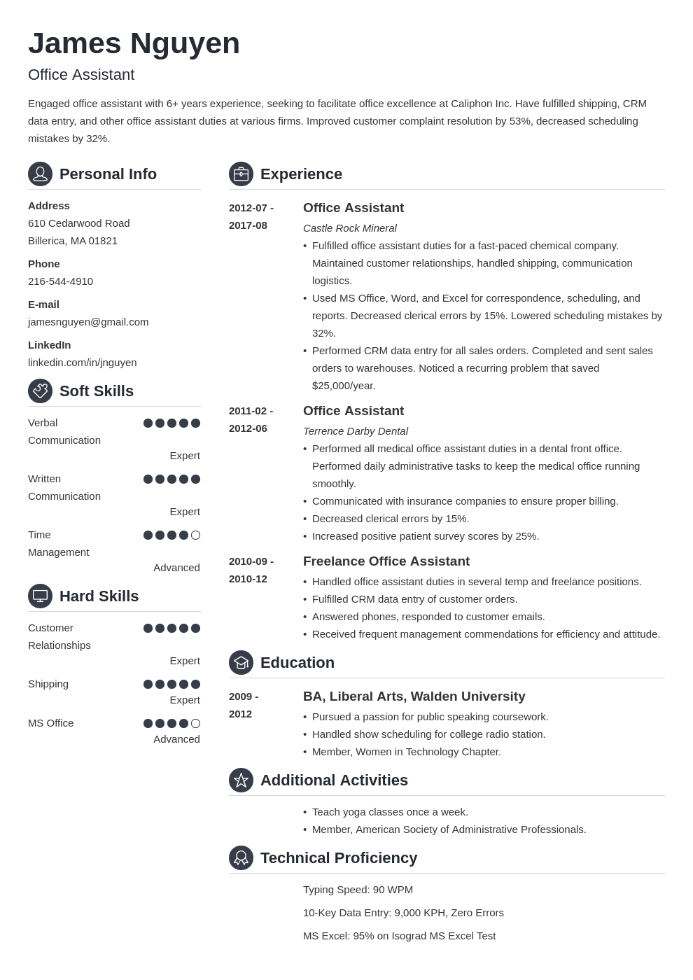 office assistant resume example template crisp