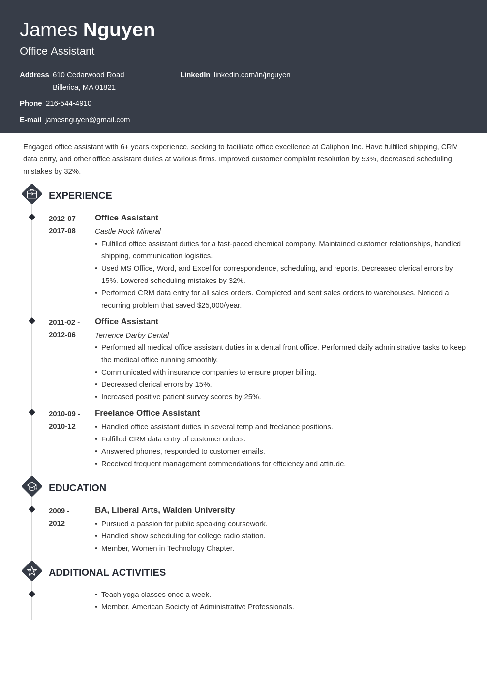 office assistant resume example template diamond