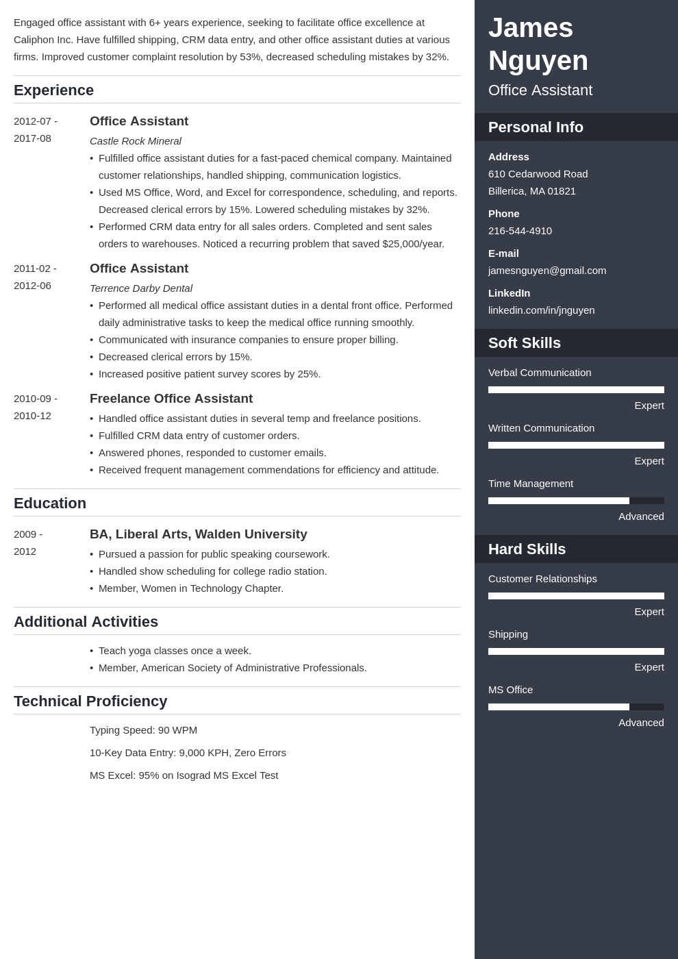 office assistant resume example template enfold