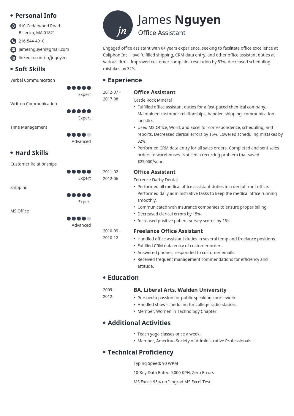 office assistant resume example template initials