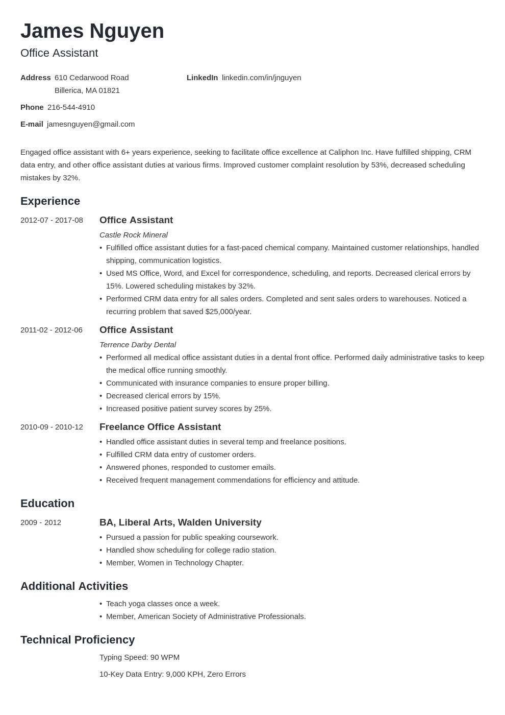 office assistant resume example template minimo