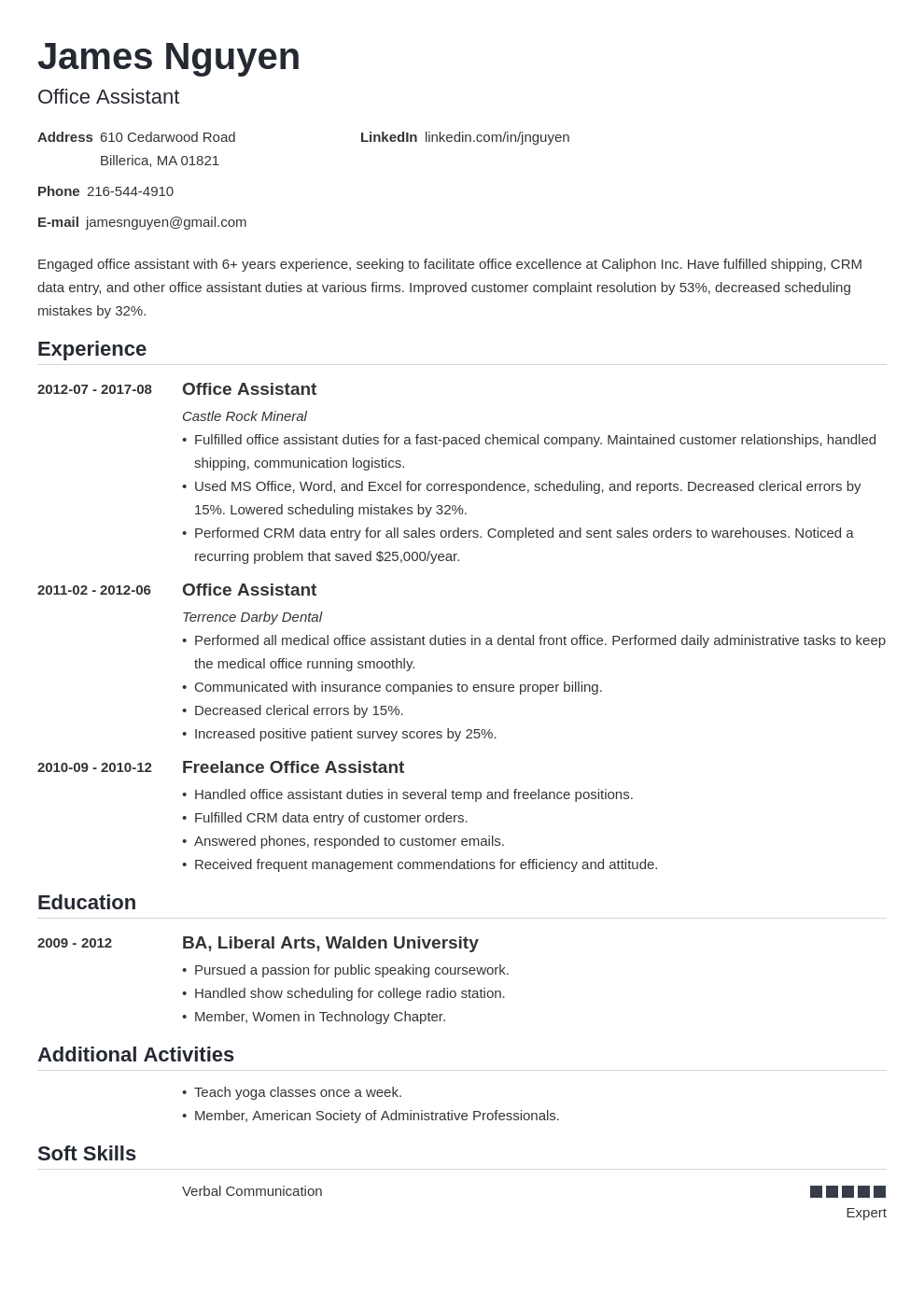 office assistant resume example template nanica