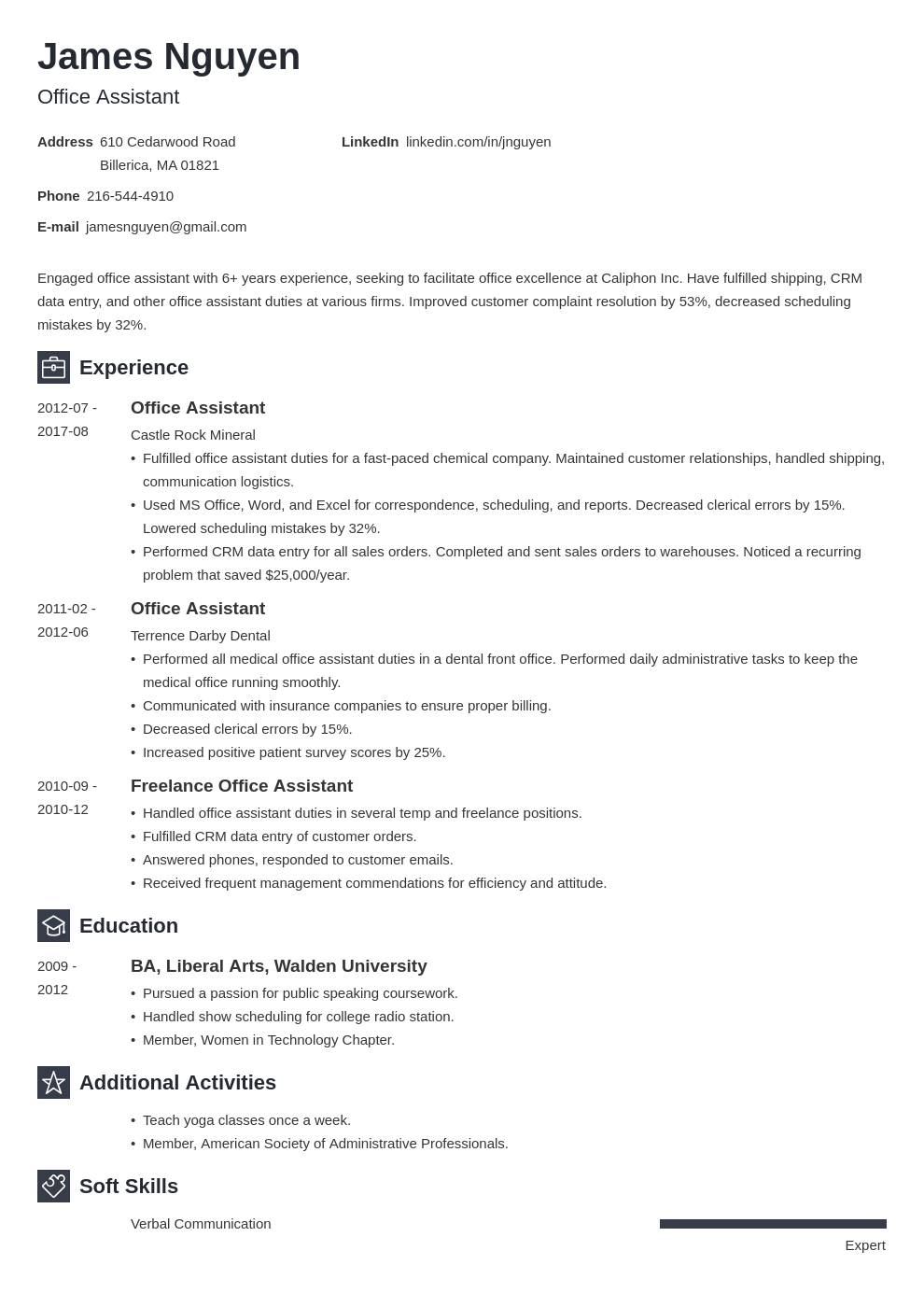 office assistant resume example template newcast