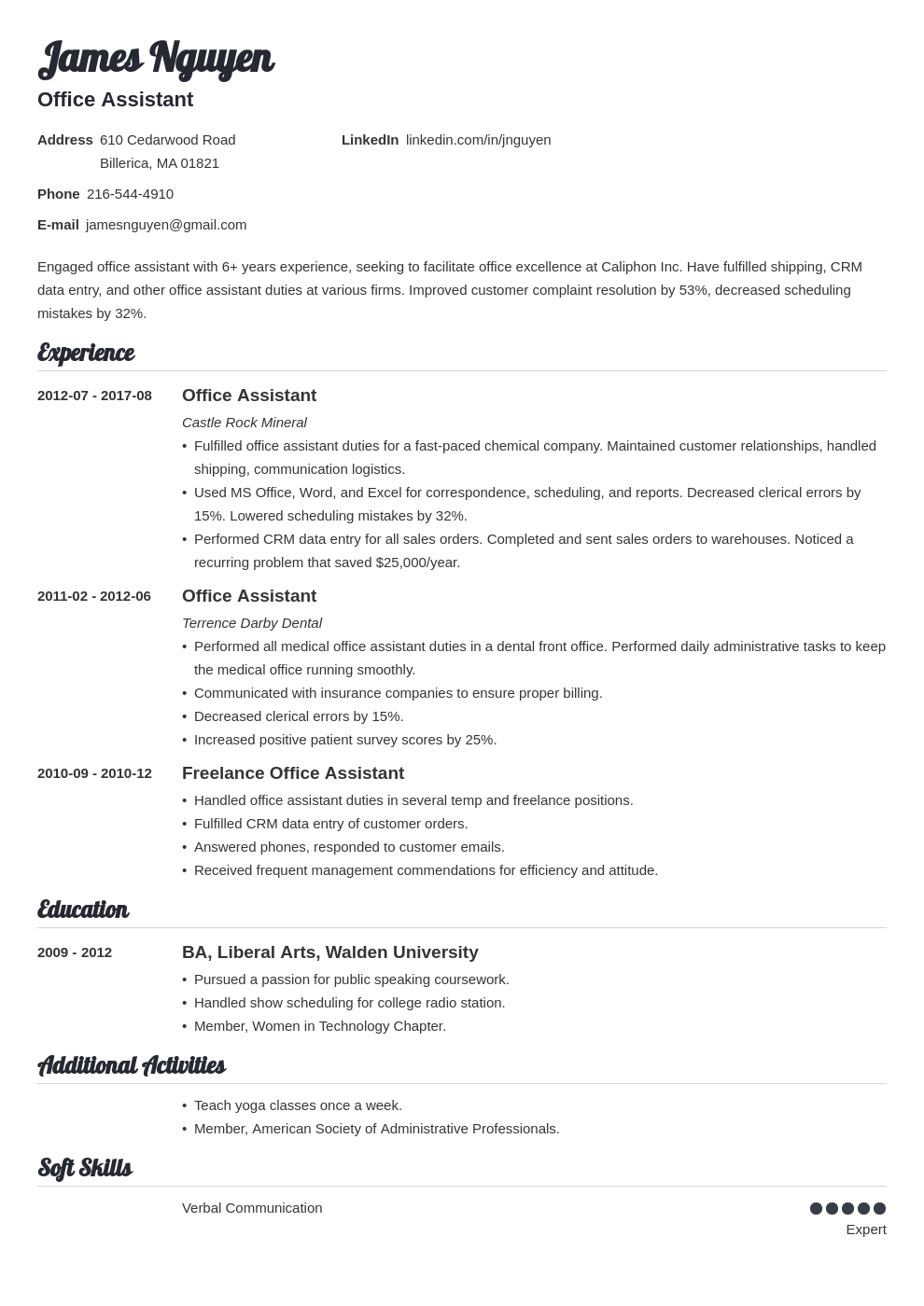 office assistant resume example template valera