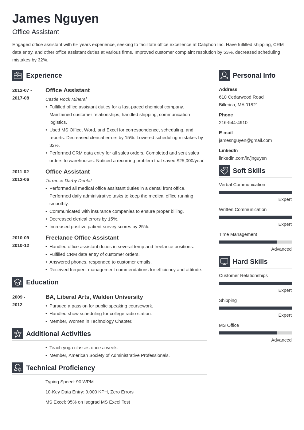 office assistant resume example template vibes