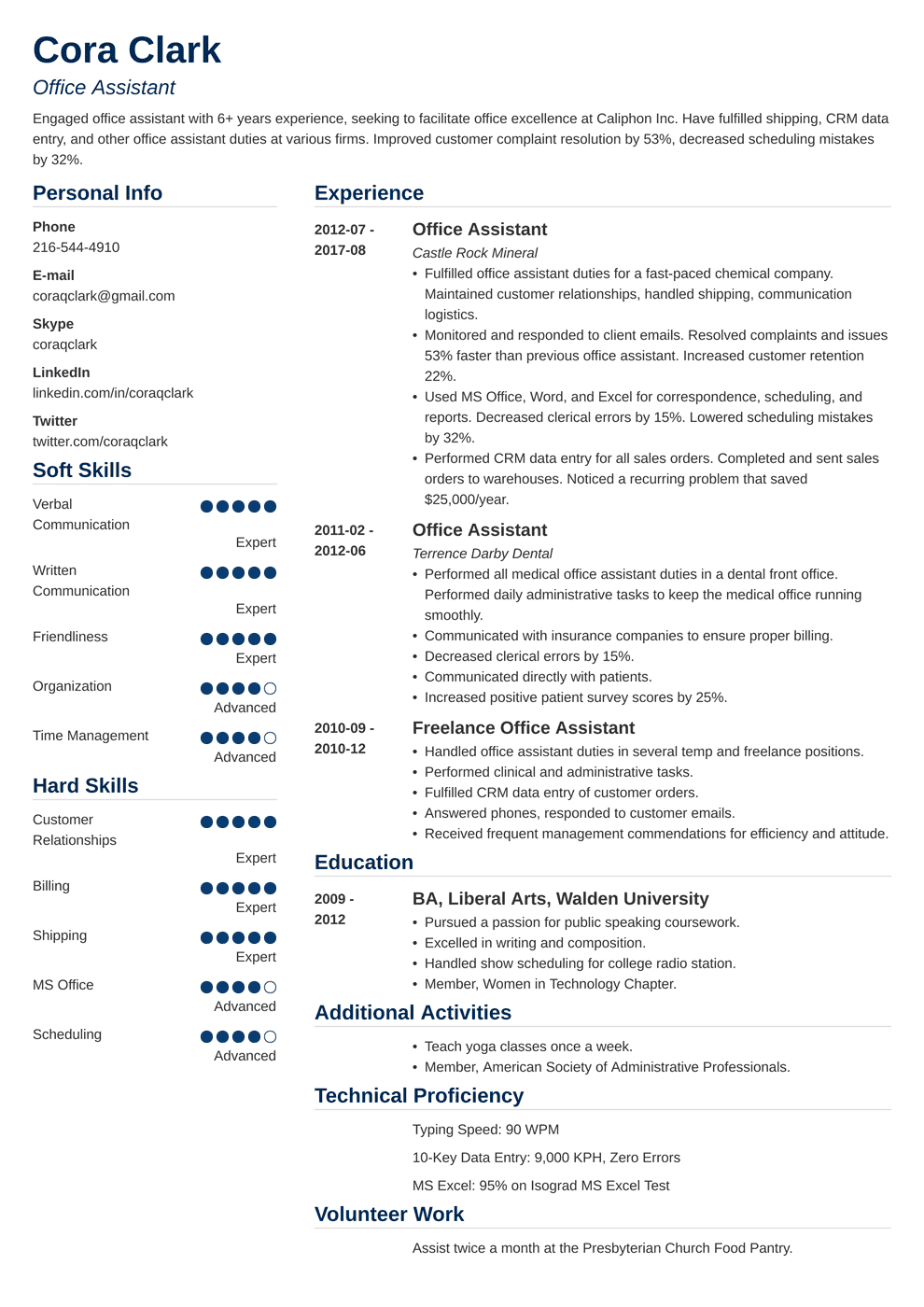 Office Assistant Resume Sample Complete Guide 20 Examples