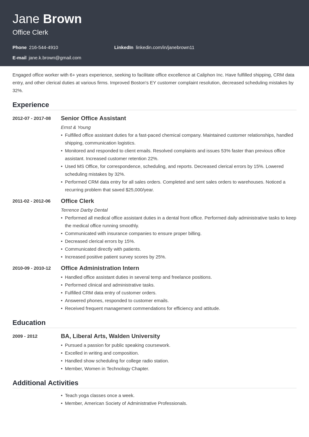 office clerk resume example template influx