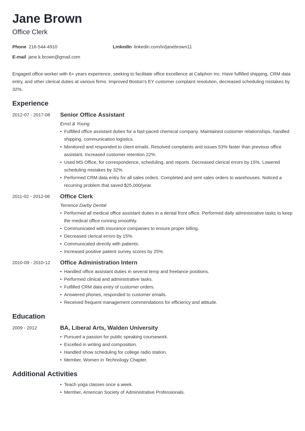 office clerk resume example template minimo