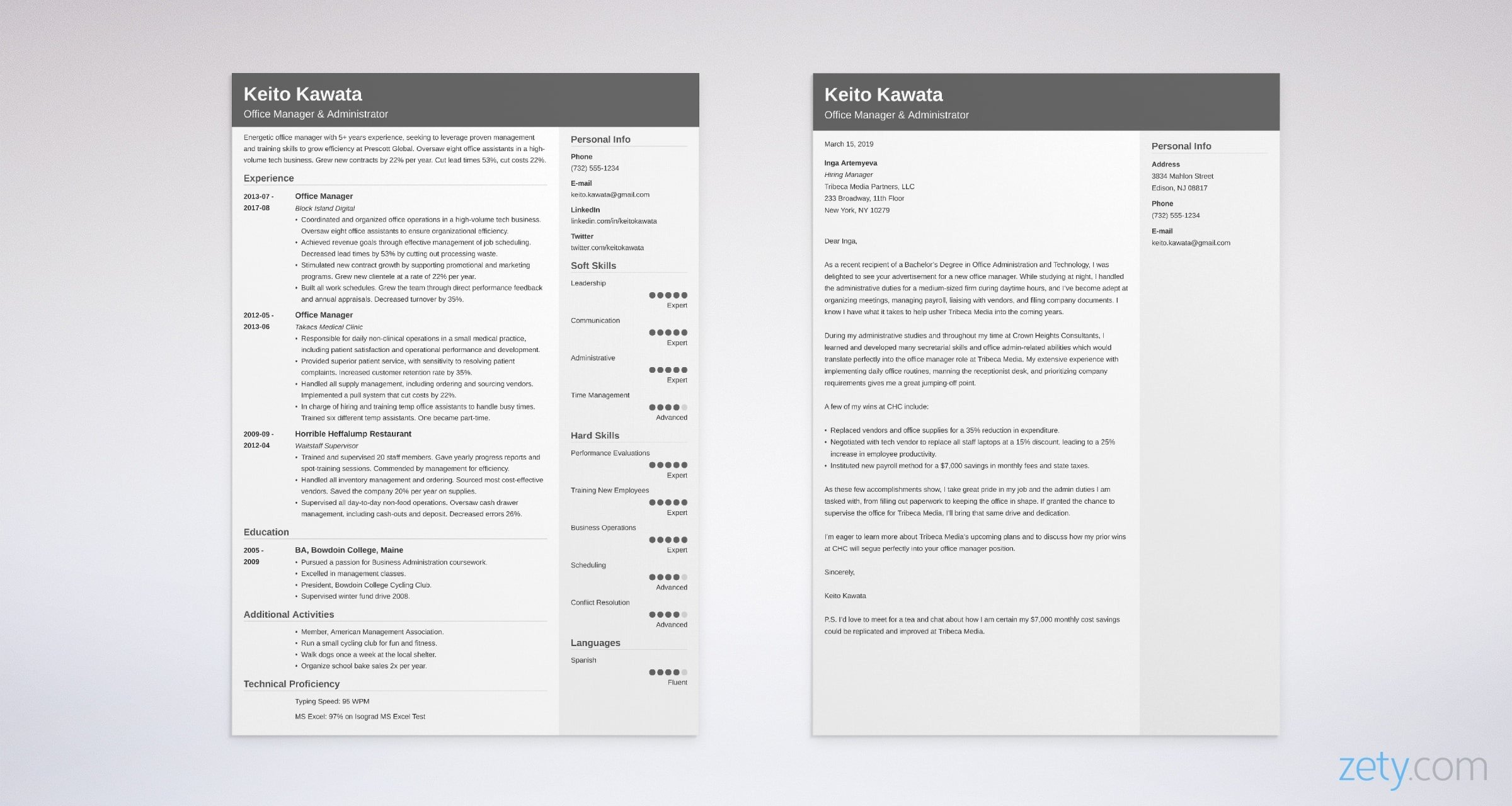 Office Manager Resume And Cover Letter Set