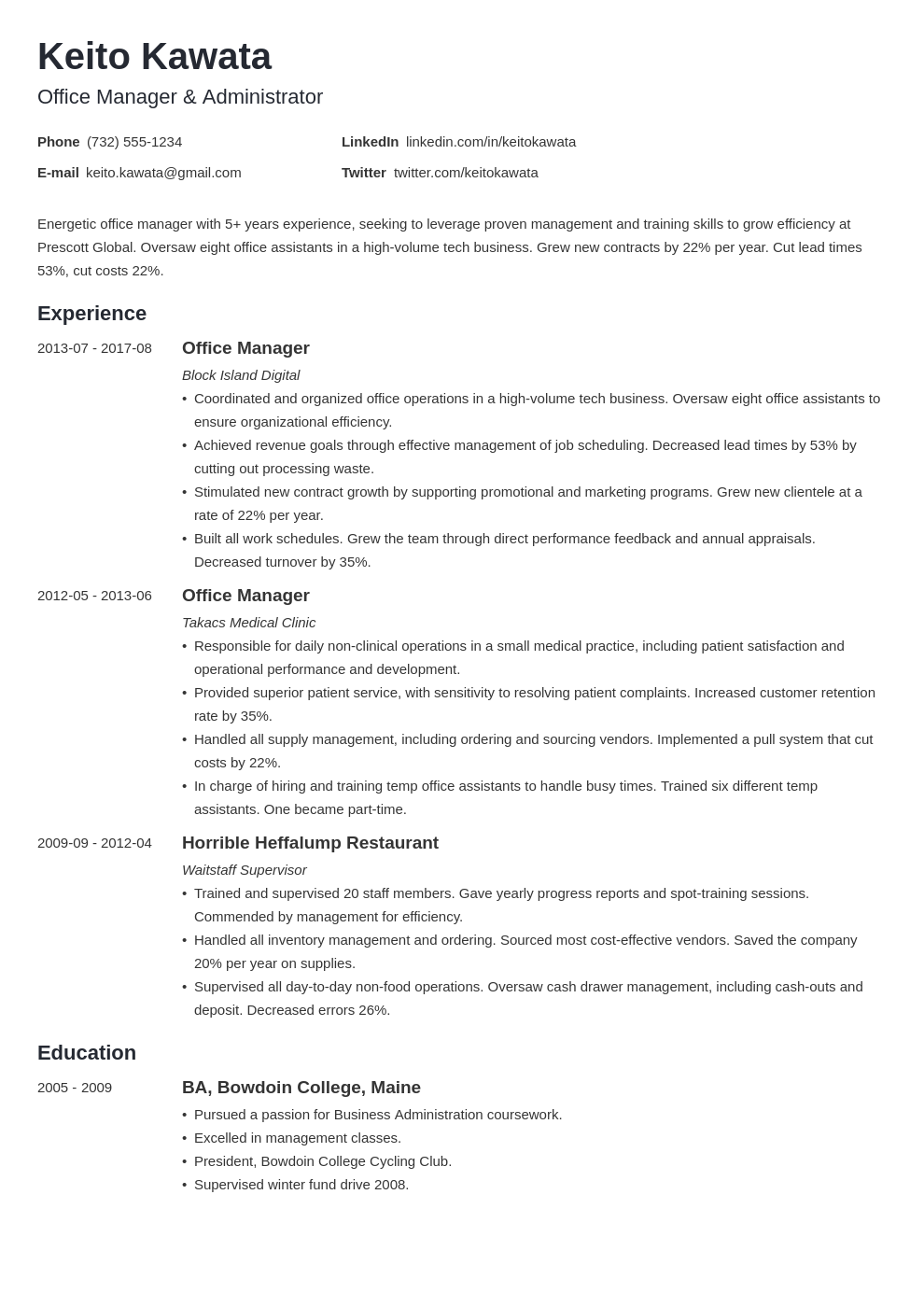 Office Manager Job Description for a Resume Examples