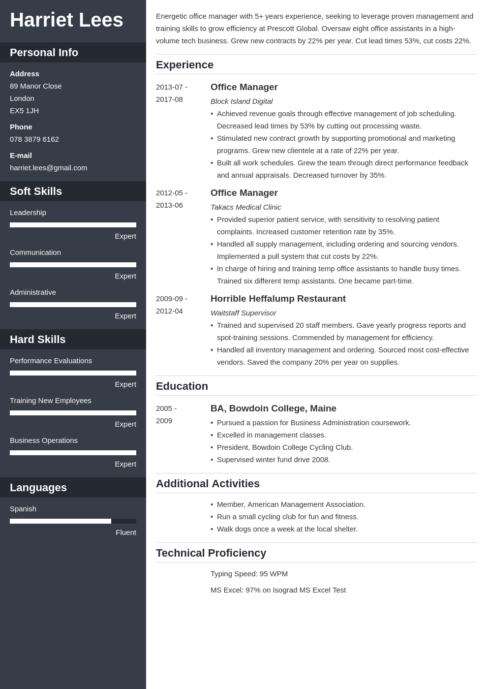 office manager resume example template cascade