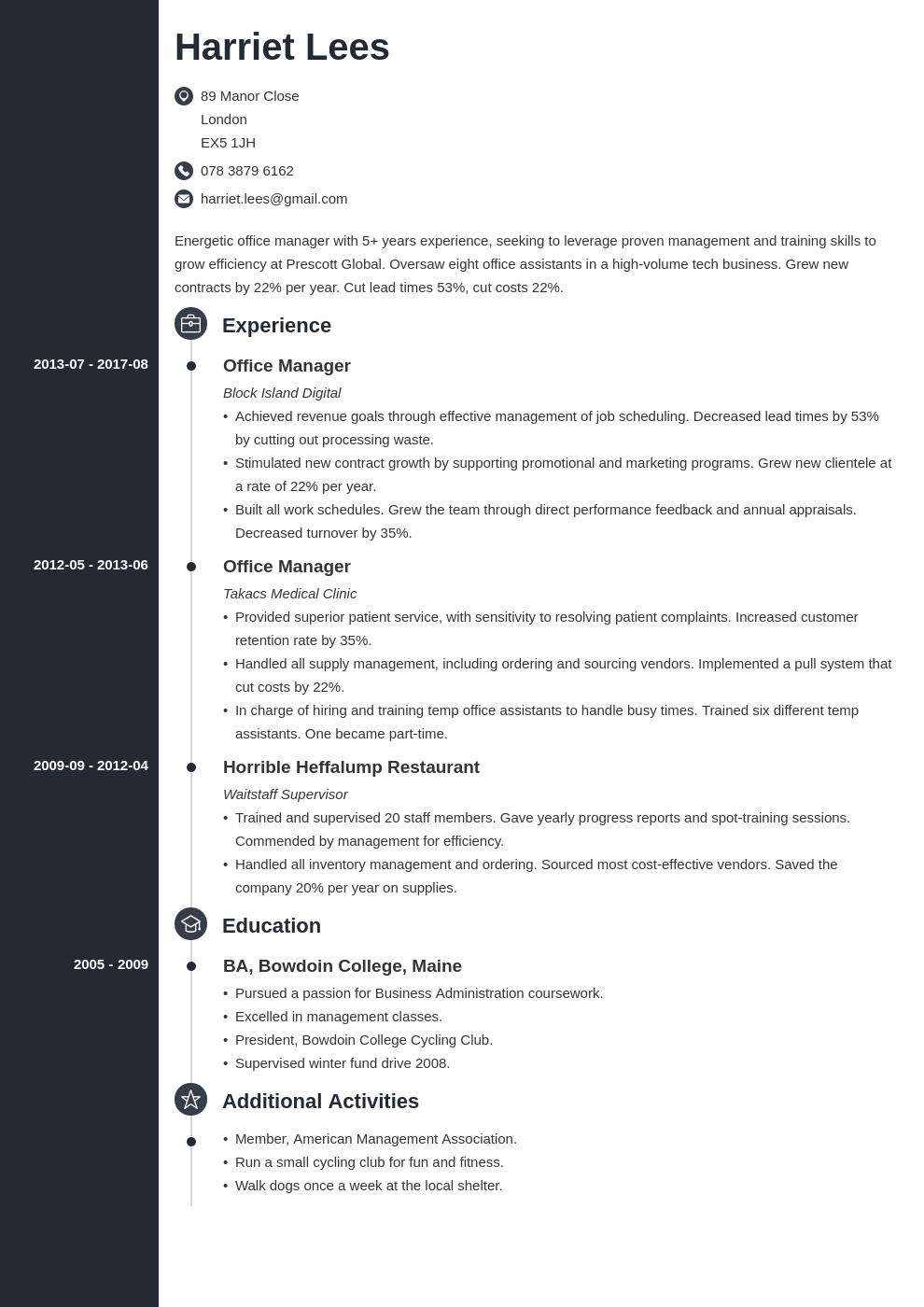 office manager resume example template concept