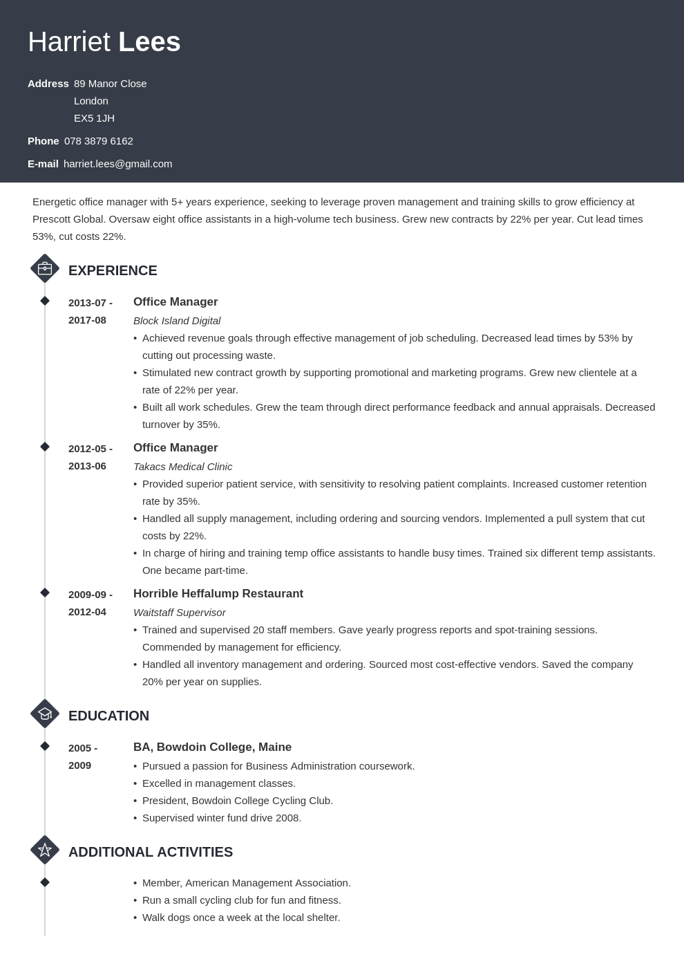 office manager resume example template diamond