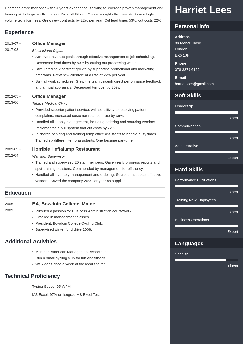 office manager resume example template enfold