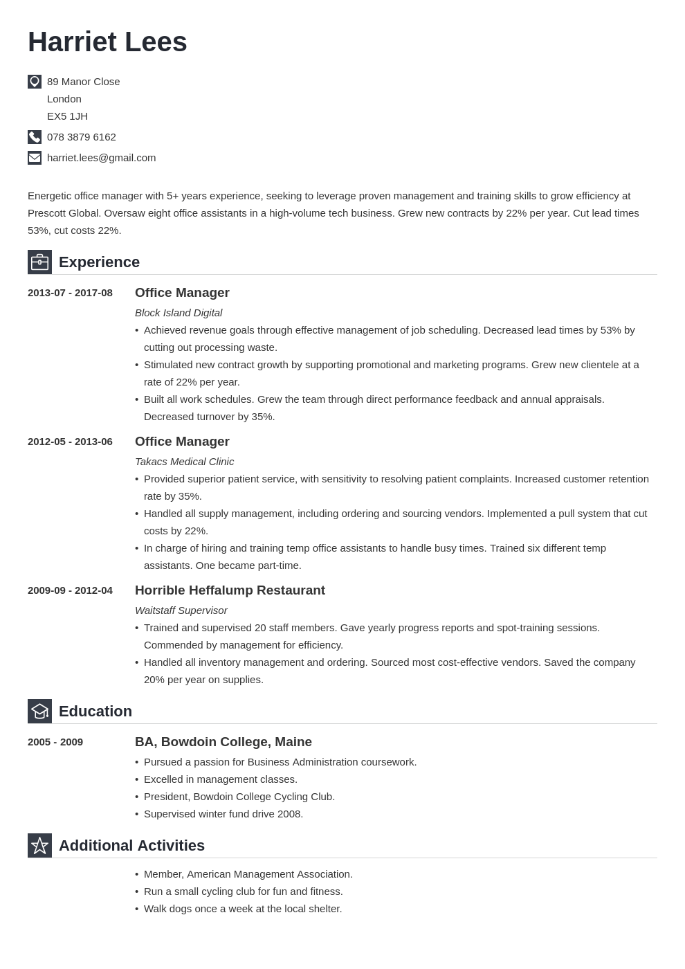 office manager resume example template iconic