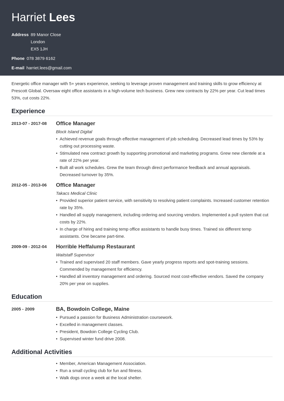 office manager resume example template influx