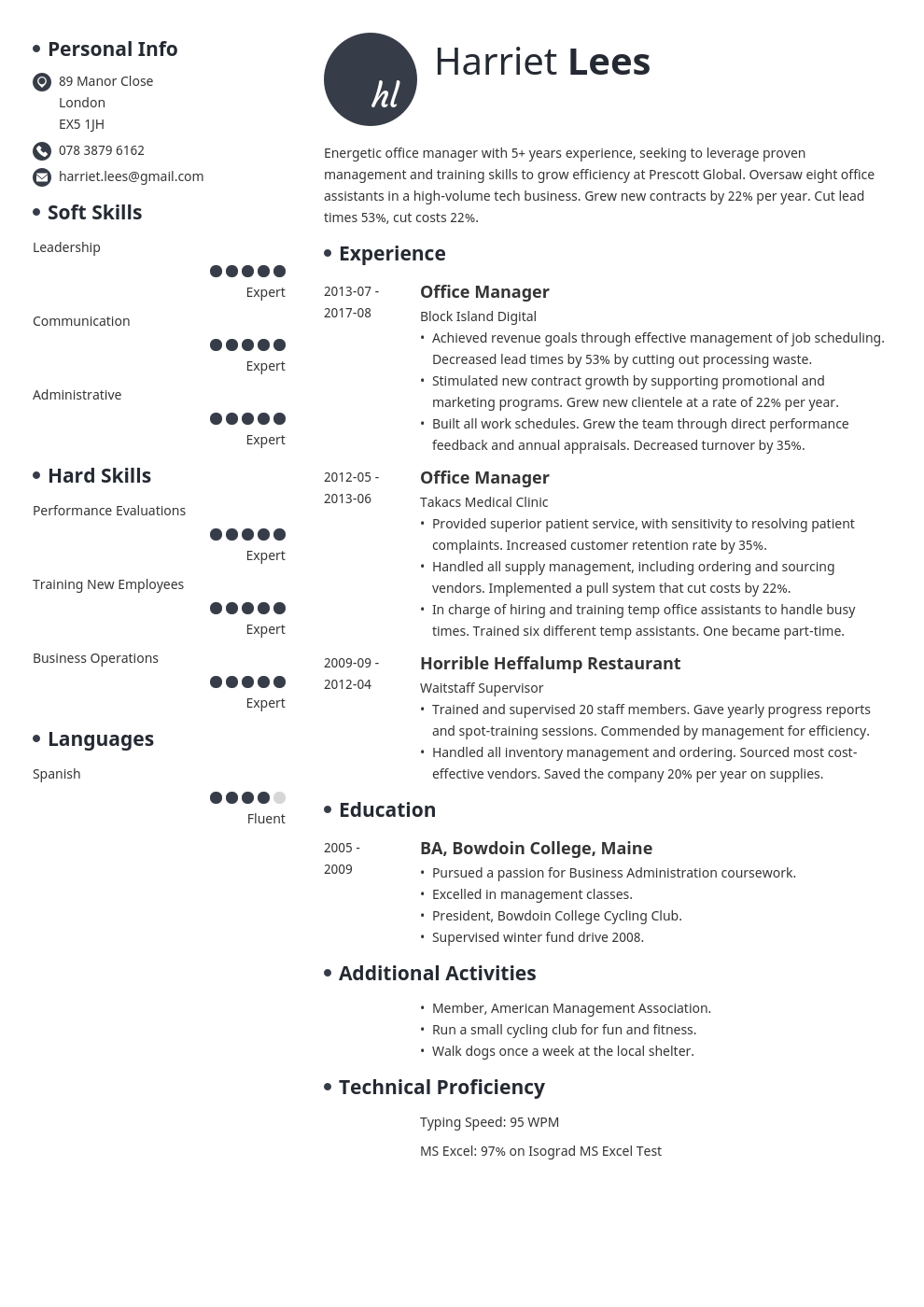 office manager resume example template initials