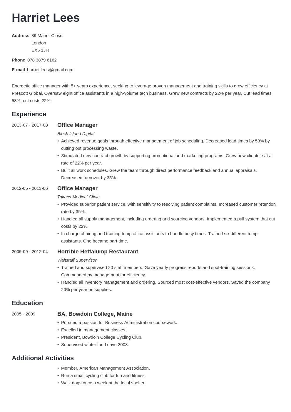 office manager resume example template minimo