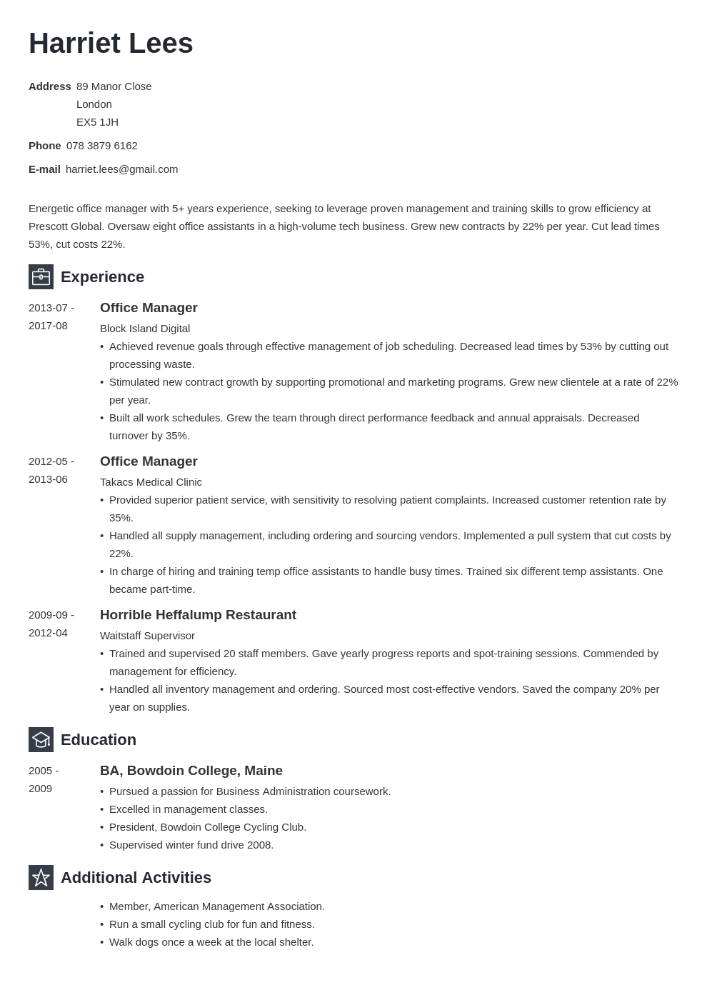 office manager resume example template newcast