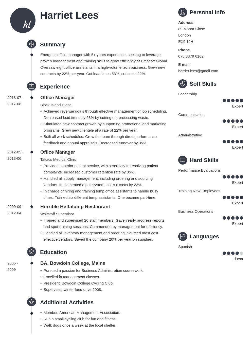 office manager resume example template primo