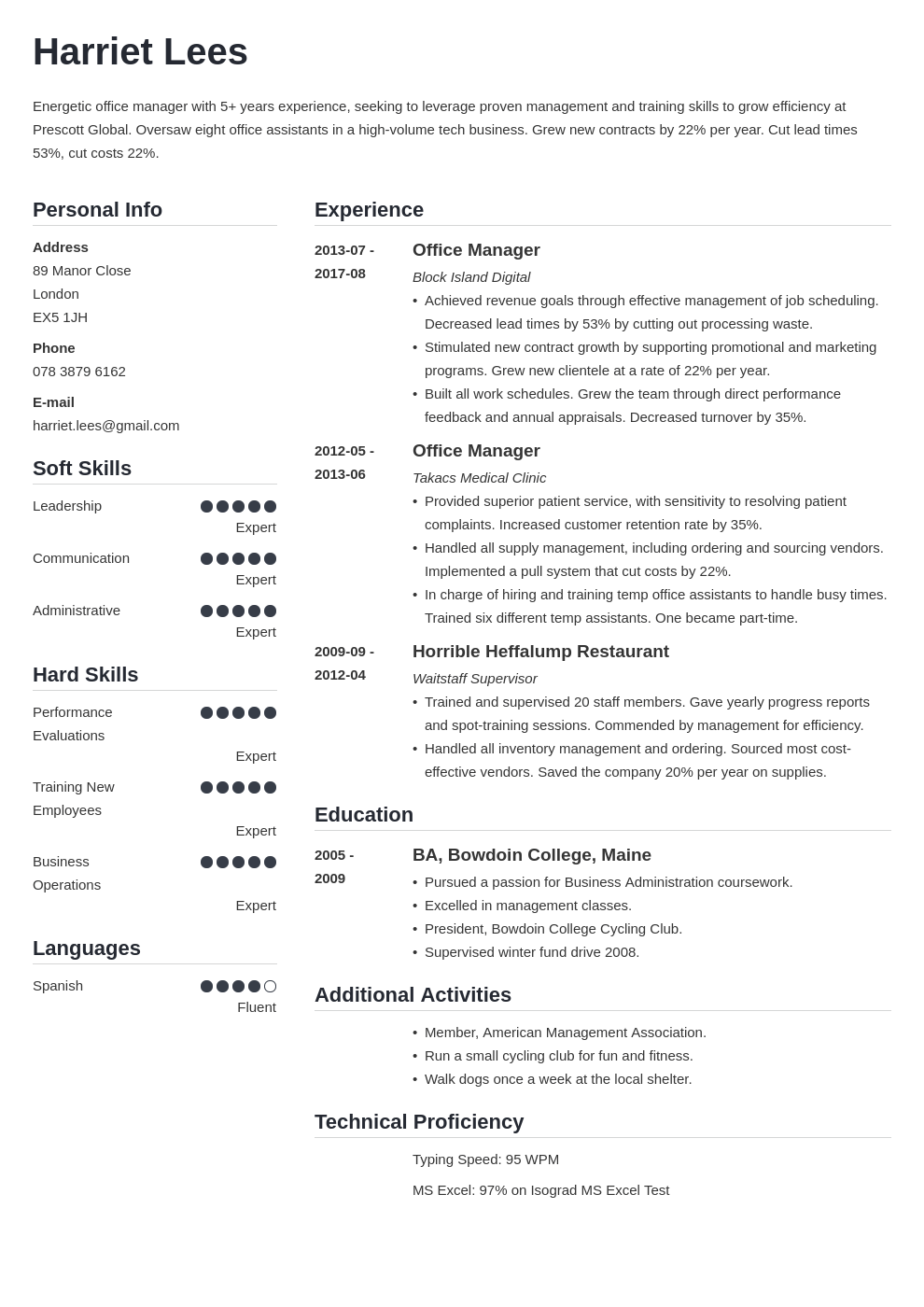 office manager resume example template simple
