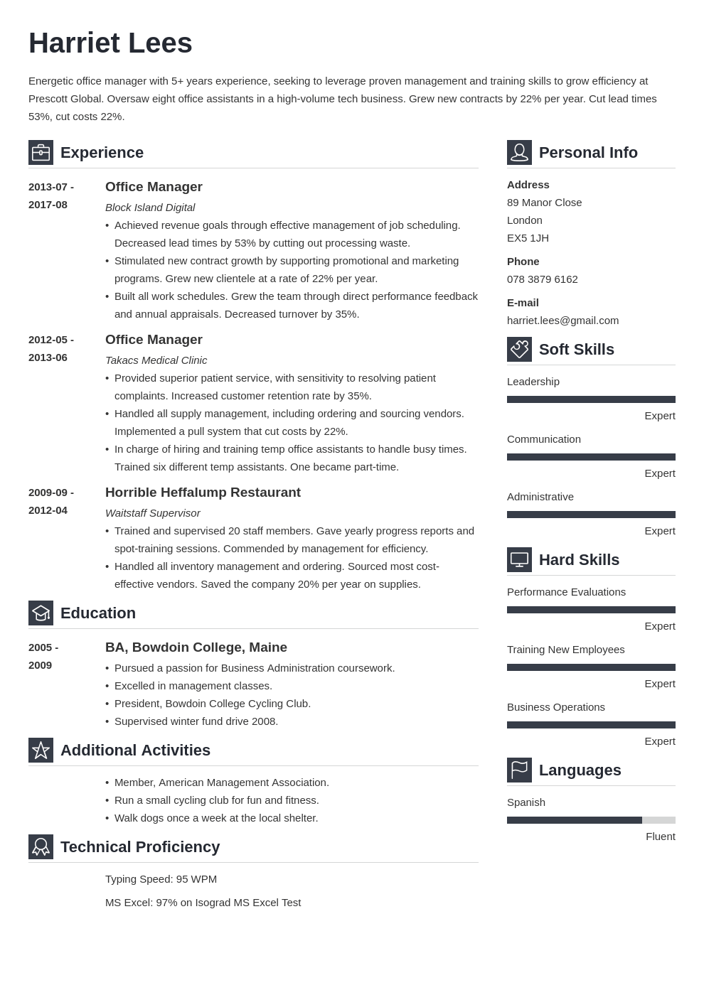 office manager resume example template vibes