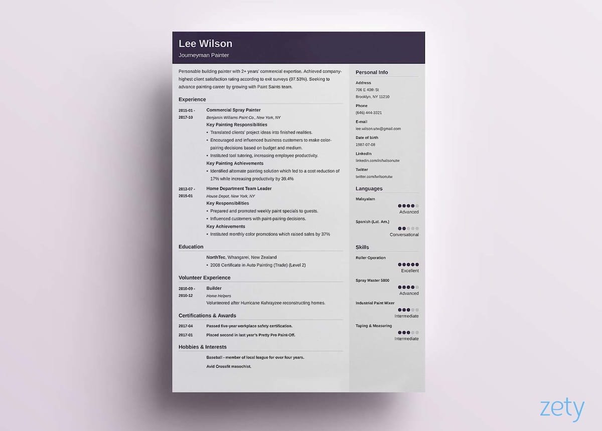 one page-cv templates